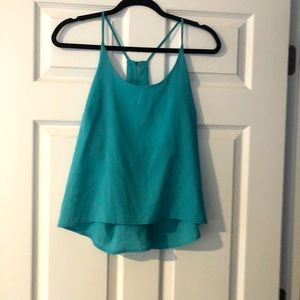 Lily White teal tank w/ back racer back buttons